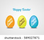 easter eggs on white background.... | Shutterstock .eps vector #589027871