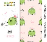 happy birthday card design with ... | Shutterstock .eps vector #589028951