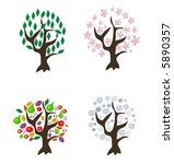 4 vector trees of different... | Shutterstock .eps vector #5890357