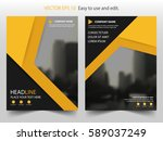 yellow black triangle vector... | Shutterstock .eps vector #589037249