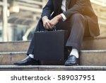 young depressed businessman...   Shutterstock . vector #589037951