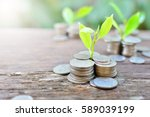 coins growth to profit concept... | Shutterstock . vector #589039199