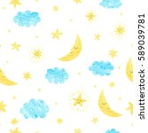 childish seamless pattern with... | Shutterstock .eps vector #589039781