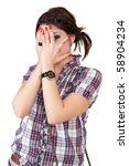 young teen woman covering her eye. isolated on white background - stock photo