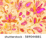 hand drawn flower seamless... | Shutterstock . vector #589044881