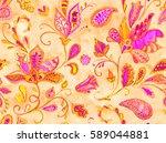 hand drawn flower seamless...   Shutterstock . vector #589044881