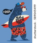 cute surfer bear vector design... | Shutterstock .eps vector #589045499