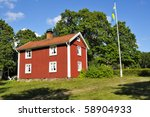 An Old Swedish House Painted...