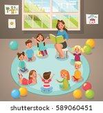 in classroom teacher and... | Shutterstock .eps vector #589060451