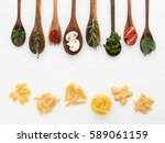 various kinds of pasta and... | Shutterstock . vector #589061159