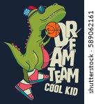 dinosaur  basketball player... | Shutterstock .eps vector #589062161