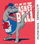 dinosaur  basketball player... | Shutterstock .eps vector #589062179