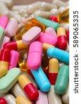 medical or vitamin pills.... | Shutterstock . vector #589065335