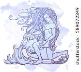 Zodiac Sign Aquarius. Young Ma...