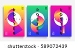 Poster with flat geometric pattern. Cool colorful backgrounds. Applicable for Banners, Placards, Posters, Flyers. Eps 10 Vector template | Shutterstock vector #589072439