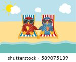cute two owls with sunglasses... | Shutterstock .eps vector #589075139