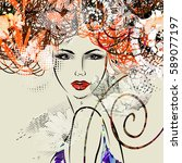 art colorful sketched beautiful ... | Shutterstock . vector #589077197