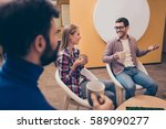 young managers having lunch and ... | Shutterstock . vector #589090277