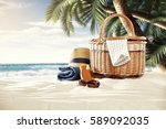 on a sunny beach in the shade... | Shutterstock . vector #589092035