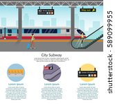 subway station platform set... | Shutterstock .eps vector #589099955