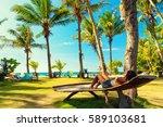 young beautiful girl enjoy... | Shutterstock . vector #589103681