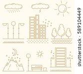 linear landscape elements... | Shutterstock .eps vector #589104449