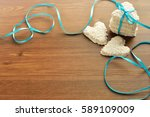 cookies in the shape of a heart ... | Shutterstock . vector #589109009