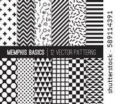 black white memphis style... | Shutterstock .eps vector #589114391