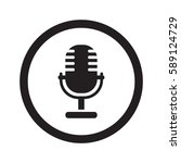 flat black microphone web icon... | Shutterstock . vector #589124729