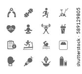 set of  fitness vector icons.... | Shutterstock .eps vector #589129805