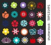 Flower Icons Set. Decorative...