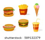 fast food icon set. decoration... | Shutterstock .eps vector #589132379