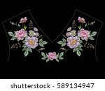 embroidery colorful ethnic neck ... | Shutterstock .eps vector #589134947