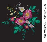 embroidery colorful floral... | Shutterstock .eps vector #589134965
