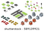 set isometric road and vector... | Shutterstock .eps vector #589139921