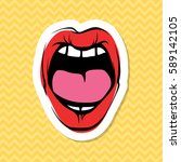 vector woman lips icon... | Shutterstock .eps vector #589142105