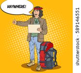 pop art smiling hitchhiking man ...   Shutterstock .eps vector #589146551
