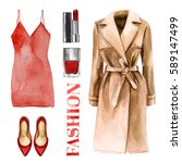 fashion trendy outfit set... | Shutterstock . vector #589147499