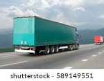 container on the big highway....   Shutterstock . vector #589149551