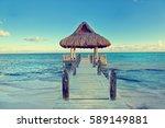 tropical white sandy beach.... | Shutterstock . vector #589149881