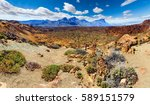 lunar landscape in tenerife... | Shutterstock . vector #589151579
