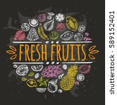fresh fruits concept. hand... | Shutterstock .eps vector #589152401