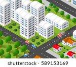 isometric 3d illustration city... | Shutterstock .eps vector #589153169