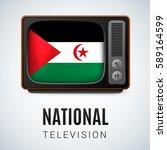 vintage tv and flag of sahrawi... | Shutterstock .eps vector #589164599