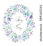 watercolor frame with lovely... | Shutterstock . vector #589165241