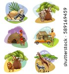 collection of decorative mini... | Shutterstock .eps vector #589169459