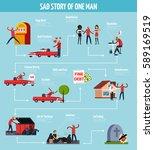 sad life man story flowchart... | Shutterstock .eps vector #589169519
