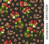 vector pattern with coffee.... | Shutterstock .eps vector #589170239