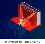 music award ceremony isometric... | Shutterstock .eps vector #589173749