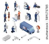 plumber isometric icons set... | Shutterstock .eps vector #589173785